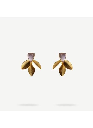 Yargıcı Doğal Taş Detaylı Yaprak Formlu Küpe Altın